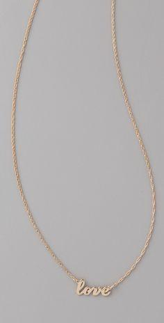 Jennifer Zeuner  Cursive LOVE Necklace  Style #:ZEUNR40032  $132.00