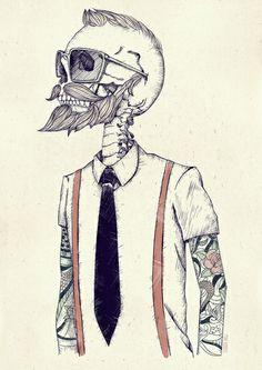 Skull geek tatoo