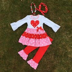 Girls Pink Red Polka Dot Ruffled Pant Boutique Outfit Top Legging Winter Valentine's Day (1-7 years)