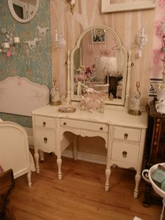 antique vanity shabby chic make up dressing table ivory distressed cottage. $595.00, via Etsy.