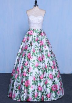 Beading Flower Printed Prom Dress,Sexy Ball Gown Prom Dress,Long Prom Party Dress