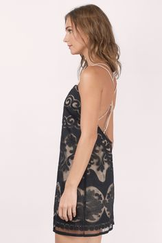 Back in Stock, Tobi, Black Sunset Lace Shift Dress