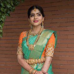 South Indian Makeup, South Indian Bride, Indian Bridal, Kids Blouse Designs, Saree Blouse Neck Designs, Bridesmaid Saree, Wedding Saree Collection, Saree Models, Stylish Sarees