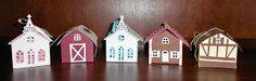 Papertrey Ink Tiny Town creations (church, barn, tudor house, gingerbread house, traveler's caravan