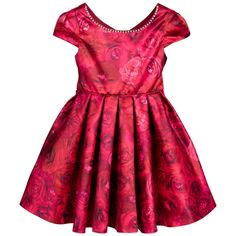Girls red rose floral dress by Kate Mack & Biscotti. This gorgeous dress has a rose printed satin short capped sleeves bodice,decorated with diamanté and a flared skirt which is gathered at the waist. It is fully lined in satin, with petticoats which add fullness and fastens at the back with a concealed zip and has rose printed satin ties that do up in a bow.