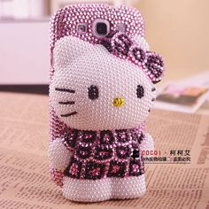 cute 3D hello kitty pink bling phone accessories for Samsung galaxy S3 leopard hello kitty diamond phone case for i9300 851