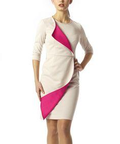 Another great find on #zulily! Beige & Pink Park Dress by emploi New York #zulilyfinds