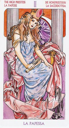 The High Priestess, from the Art Nouveau Tarot by Antonella Castelli.  This is my favorite card.