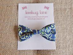 Spring Hair Bow  - blue & green