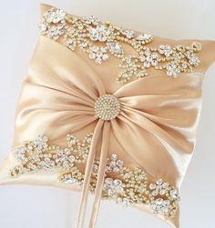 Wedding Ring Pillow Wedding Cushion with Rhinestone by JLWeddings