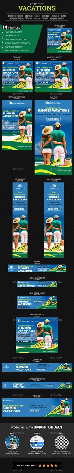 Summer Vacations Banners Template #design Download: http://graphicriver.net/item/summer-vacations/11546042?ref=ksioks