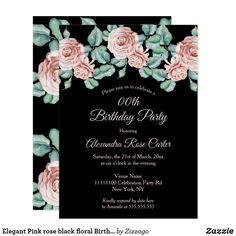 Shop Elegant Pink rose black floral Birthday Party Invitation created by Zizzago. Bachelorette Party Invitations, Quinceanera Invitations, Pink Invitations, Birthday Party Invitations, Birthday Woman, Sweet 16, Rose, Floral, Elegant