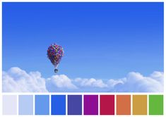 One of my all time FAVORITE cinema palettes - Up has such a beautiful use of color Movie Color Palette, Colour Pallette, Color Combos, Color Schemes, Color Harmony, Color Balance, Cinema Colours, Color In Film, Mood And Tone