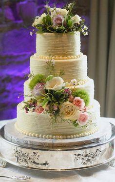 Rustic Buttercream Wedding Cake - by SliceataTime @ CakesDecor.com - cake decorating website