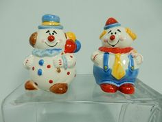 Clown Salt Pepper Shakers Ceramic Balloons