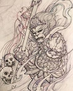 Monkey week. #chronicink #asiantattoo #asianink #irezumi #tattoo #monkeyking #drawing #illustration #sketch