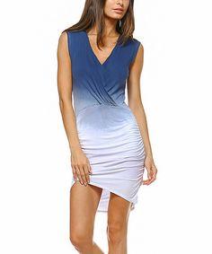 Love this Navy & White Ombré Asymmetric-Hem Surplice Dress on #zulily! #zulilyfinds