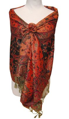 Elegant Red & Black Reversible Paisley Pashmina Shawl Wrap