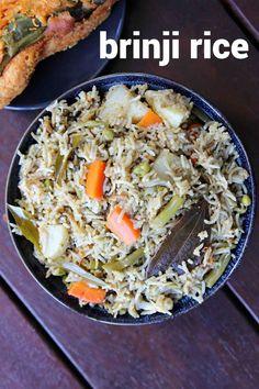 brinji rice recipe, vegetable brinji, veg brinji, brinji sadam with step by step photo/video. traditional rice based recipe from the popular tamil cuisine. Veg Dishes, Rice Dishes, Vegetable Recipes, Vegetarian Recipes, Cooking Recipes, Vegetable Pulao Recipe, Veg Biryani Recipe Indian, Best Rice Recipe, Garlic Fried Rice