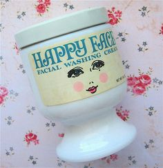 Happy Face sudsing cold cream - many, many women used Happy Face cold cream to remove their make-up instead of washing their faces. Happy Face was unusual in that it was sudsing and not greasy. Facial Wash, Face Facial, Facial Cream, Facial Scrubs, Vintage Makeup, Vintage Beauty, Vintage Vanity, Vintage Hair, Vintage Perfume