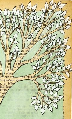 Love this - make with old book pages and use paint chips for the leaves. YES!