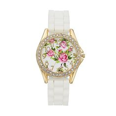 Women's Crystal Floral Watch, Size: Large,