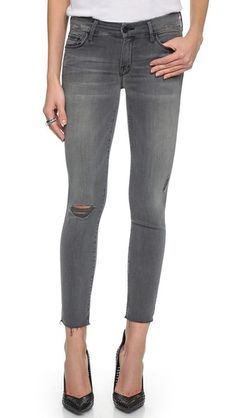 MOTHER Looker Skinny Ankle Fray Jeans Grey Fashion d864358d7779