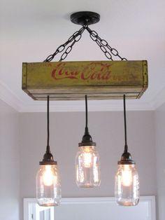mason jar ceiling lighting | Coca Cola Ceiling Light with Mason Jars on Etsy, $185.00