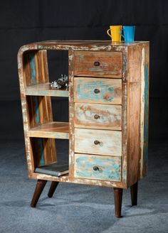 New Grade A 5 Drawer Open Shelf Unit   Reclaimed Timber   Eco Friendly