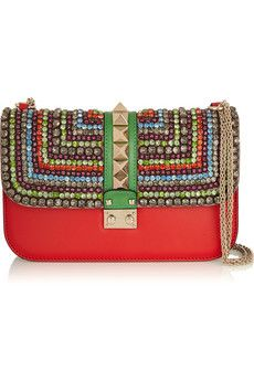 Valentino Glam Lock medium crystal-embellished leather shoulder bag | NET-A-PORTER