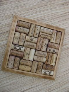 Wine Cork Trivet made from Reclaimed Wood and recycled oak corks by TheWoodenBee