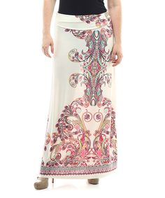 Love this White & Pink Ornate Maxi Skirt - Plus on #zulily! #zulilyfinds