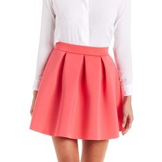 Charlotte Russe Scuba Knit Skater Skirt ($23) ❤ liked on Polyvore featuring skirts, mini skirts, bottoms, coral, red skater skirt, circle skirt, flared skater skirt, knit mini skirt y short skirts