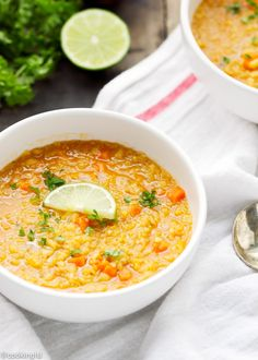 Curried red lentil quinoa soup - thick, loaded with protein and flavors, ready in under one hour. Healthy comfort food.