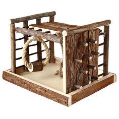 "Hamster Mice Gerbil Natural Wooden Climbing Frame Playground Ladder Swing ""Lasse"