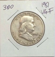 1951 FRANKLIN HALF DOLLAR VG- F 90% SILVER COIN FOR YOUR COLLECTION! #300