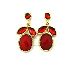 Style&co. Gold-Tone Red Stone Bold Drop Post Earrings  #Styleandco #DropDangle