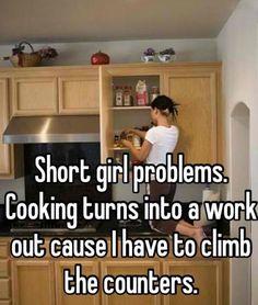 Short girl in the kitchen.