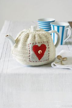 Teapot cover pattern, in Afrikaans.