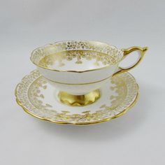 Royal Stafford Gold Tea Cup and Saucer Vintage Bone China Royal Stafford, Gold Pattern, Bone China, Cup And Saucer, Vintage Items, My Photos, Tea Cups, Tableware, Etsy
