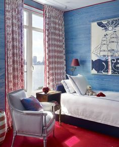 Room of the Day: red, white and blue on flag day in boys room. Who else but Miles Redd? 6.14.2016