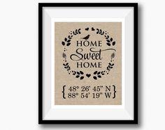 Home Sweet Home  Burlap Print   Latitude Longitude Housewarming Gift