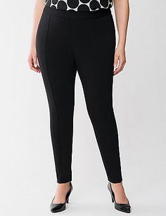 Lane Collection's ponte legging is THE wardrobe essential for every fashionista's busy lifestyle. Why? You can wear it anywhere, dress it up or down and always look fabulous!  High-quality ponte is renowned for its durability because it resists wrinkles, piling and fading, and it's machine washable! Pull-on style with an elastic waist and front vertical seams. lanebryant.com