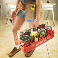 jumbo fastener tote coke eight pack carrier Check out this clever workshop tip! Tool Organization, Tool Storage, Garage Storage, Homemade Tools, Diy Tools, Woodworking Workshop, Woodworking Projects, Woodworking Lathe, Tool Tote