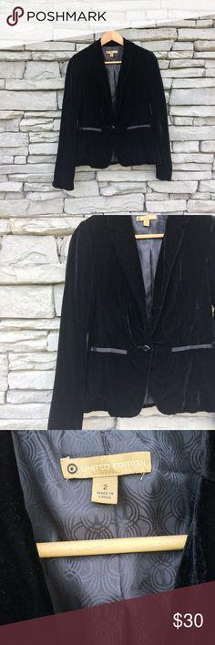 "TARGET Limited Edition Black Velvet Blazer, NWOT Size 2 Pit to Pit 19"" Length 23"" Sleeve Length 25"" Waist 32"" Measured flat  Excellent, never worn condition Target Jackets & Coats Blazers"