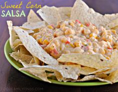 Creamy Sweet Corn Salsa with the new Tostitos Thins Tex Mex chips.