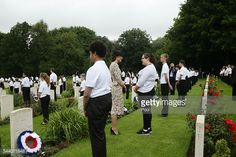 Catherine, Duchess of Cambridge meets British and French school children by war graves following the wreath laying, during the Commemoration of the Centenary of the Battle of the Somme at the...