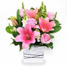 Little Princess - celebrate the arrival of a little princess with this cute display of pink flowers - includes seasonal flowers such as tiger liles, roses and snap dragons.