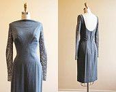 1960s Dress - Vintage 60s Dress - Neutral Grey Wool Mod Fishnet Rhinestones Designer Cocktail Dress M L - North by Northwest