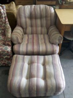 Comfy Striped Chair With Ottoman · Striped ChairOttoman FurnitureCamp  LejeuneYard ...